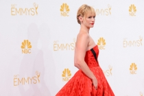 January Jones of Mad Men arrives at the 66th Emmy Awards.