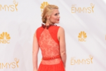 Claire Danes of Homeland arrives at the 66th Emmy Awards.