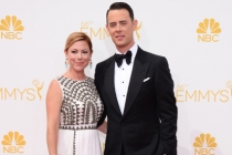 Colin Hanks of Fargo and his wife Samantha Bryant arrive at the 66th Emmy Awards.
