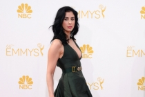Sarah Silverman arrives at the 66th Emmy Awards.