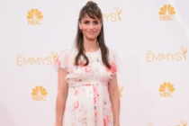 Amanda Peet of Togetherness arrives at the 66th Emmys.