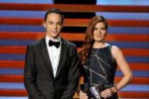 Jim Parsons (l) of The Big Bang Theory and Debra Messing present an award at the 66th Emmy Awards.