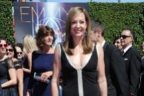 Allison Janney arrives for the 2014 Primetime Creative Arts Emmys.