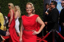 Marina Toybina of The X-Factor arrives for the 2014 Primetime Creative Arts Emmys.