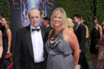 Bob Newhart and Courtney Newhart arrive for the 2014 Primetime Creative Arts Emmys.