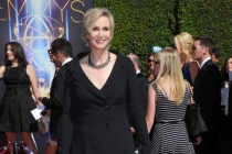 Jane Lynch of Hollywood Game Night arrives for the 2014 Primetime Creative Arts Emmys.
