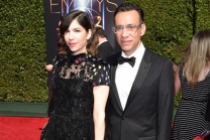 Carrie Brownstein and Fred Armisen arrive for the 2014 Primetime Creative Arts Emmys.