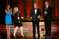 Jennifer Euston accepts the award for outstanding casting for Orange is the New Black from Matt Weiner and Vince Gilligan.