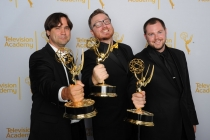 Rob Butler, Josh Earl and Art O'Leary celebrate their win at the 2014 Primetime Creative Arts Emmys.