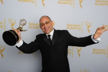 Peter Chakos celebrates at the 2014 Primetime Creative Arts Emmys.