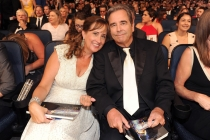 Beau Bridges of Masters of Sex and wife, Wendy at the 2014 Primetime Creative Arts Emmys.