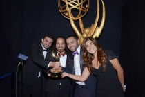 The Square editing team celebrates their win at the 2014 Primetime Creative Arts Emmys.