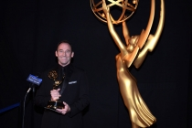 Breaking Bad editor Skip Macdonald celebrates his win at the 2014 Primetime Creative Arts Emmys.