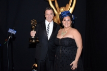 The Oscars production design team members Derek McLane (l) and Gloria Lamb (r) celebrate their win at the 2014 Primetime Creative Arts Emmys.