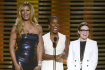 Presenters Laverne Cox (l) Uzo Aduba (c) and Natasha Lyonne (r) at the 2014 Primetime Creative Arts Emmys.