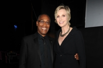 Joe Morton (l) of Scandal and Jane Lynch (r) of Hollywood Game Night at the 2014 Primetime Creative Arts Emmys.