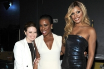 Natasha Lyonne (l), Uzo Aduba (c) and Laverne Cox (r) of Orange is the New Black at the 2014 Primetime Creative Arts Emmys.