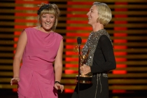 Nina Ayres and Michele Clapton accept the award for outstanding costumes for a series for Game of Thrones.