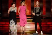 Sheena Wichary (l) Nina Ayres (c) and Michele Clapton (r) accept the award for outstanding costumes for a series for Game of Thrones.