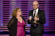 Jane Walker and Barrie Gower accept the award for outstanding prosthetic makeup for their work on Game of Thrones.