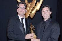 Treme sound mixers Blake Leyh (l) and Andy Kris (r) celebrate their win at the 2014 Primetime Creative Arts Emmys.