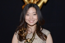 The Powerpuff Girls animator Jasmin Lai celebrates her win at the 2014 Primetime Creative Arts Emmys.