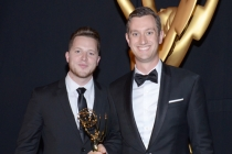 House of Cards sound mixers Scott R. Lewis (l) and Nathan Nance (r) celebrate their win at the 2014 Primetime Creative Arts Emmys.