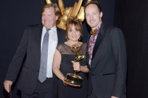 Mike Malone (l), Bettina Levesque (c) and Seth Saint Vincent (r) celebrate at the 2014 Primetime Creative Arts Emmys.