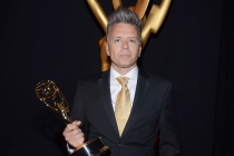 Valerio Ventura celebrates his win at the 2014 Primetime Creative Arts Emmys.