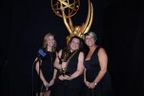 True Detective casting directors Meagan Lewis (l), Alexa L. Fogel (c) and Christine Kromer (r) celebrate their win at the 2014 Primetime Creative Arts Emmys.
