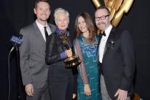 (From left) Ken Van Duyne, Lou Eyrich, Elizabeth Macey and Robert Sparkman celebrate at the 2014 Primetime Creative Arts Emmys.