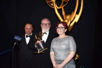 Boardwalk Empire art direction team members Adam Scher (l), Bill Groom (c) and Carol Silverman (r) celebrate their win at the 2014 Primetime Creative Arts Emmys.