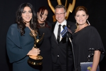 American Horror Story: Coven hairstylists (from left) Michelle Ceglia, Yolanda Mercadel, Monte C. Haught and Daina Daigle celebrate their win at the 2014 Primetime Creative Arts Emmys.