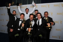 Deadliest Catch producers celebrate their win at the 2014 Primetime Creative Arts Emmys.