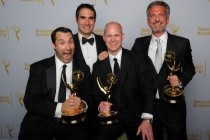 30 For 30 Shorts producers (from left) Dan Silver, Connor Schell, John Dahl and Bill Simmons celebrate their win at the 2014 Primetime Creative Arts Emmys.