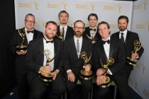 Game of Thrones special and visual effects team celebrate their win at the 2014 Primetime Creative Arts Emmys.