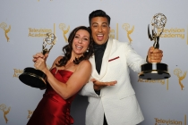 So You Think You Can Dance choreographers Tabitha D'Umo (l) and Napolian D'Umo (r) celebrate their win at the 2014 Primetime Creative Arts Emmys.