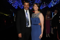 Neil deGrasse Tyson (l) of Cosmos: A SpaceTime Odyssey and Alice Young (r) at the 2014 Creative Arts Emmys ball.