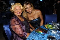 Laverne Cox (r) of Orange Is the New Black and Gloria Cox (l) at the 2014 Creative Arts Emmy ball.