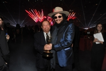 Kenneth Ehrlich (l) and Don Was (r) celebrate at the 2014 Creative Arts Emmys ball.
