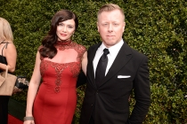 Mina Korzeniowski and Abel Korzeniowski on the Red Carpet at the 2015 Creative Arts Emmys.