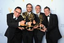 Miles Presland Donovan, Luke Best, Peter Mellor and Chris Sayer backstage at the 2015 Creative Arts Emmys.