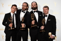 Dan Gregoras, Jeremy Cox, Jon Hassell, Griffin Frazen backstage at the Creative Arts Emmy Awards 2015.