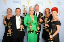 Jillian Erickson, Mike Mekash, Eryn Krueger Mekash, Christopher Nelson, Lucy O'Reilly and Kim Ayers backstage at the 2015 Creative Arts Emmys.