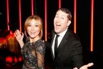 Sasha Alexander and Scott Aukerman backstage at the 2015 Creative Arts Emmys.