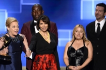 "The team of ""Bessie"" accepts their award at the Creative Arts Emmy Awards 2015."