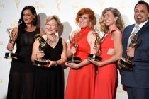 Jodi Mancuso, Inga Thrasher, Jennifer Serio Stauffer, Cara Hannah Sullivan and Joe Whitmeyer backstage at the 2015 Creative Arts Emmys.