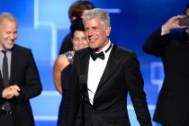 Anthony Bourdain accepts an award at the 2015 Creative Arts Emmys.