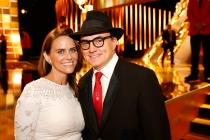 Amy Landecker and Bradley Whitford backstage at the 2015 Creative Arts Emmys.