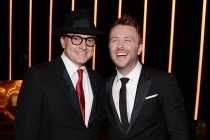 Bradley Whitford and Chris Hardwick backstage at the 2015 Creative Arts Emmys.
